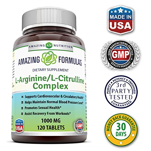 Amazing Nutrition L Arginine / L Citrulline Complex 1000 Mg* Combines Two Amino Acids With Potential Health Benefits * Supports Energy Production * Ads To Improve Athletic Performance (120 Tablets)