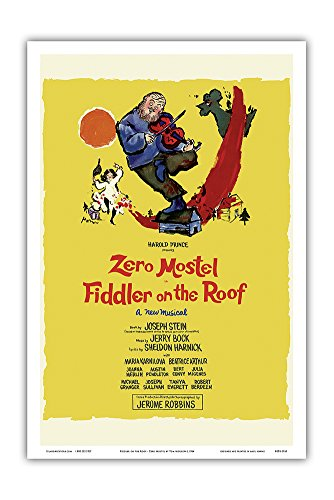 Pacifica Island Art Fiddler on the Roof - Starring Zero Mostel - Musical by Harold Prince - Vintage Theater Poster by Tom Morrow c.1964 - Master Art Print - 12in x 18in
