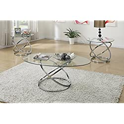 Poundex F3087 Occasional Table Set with Spinning Circles Base Design