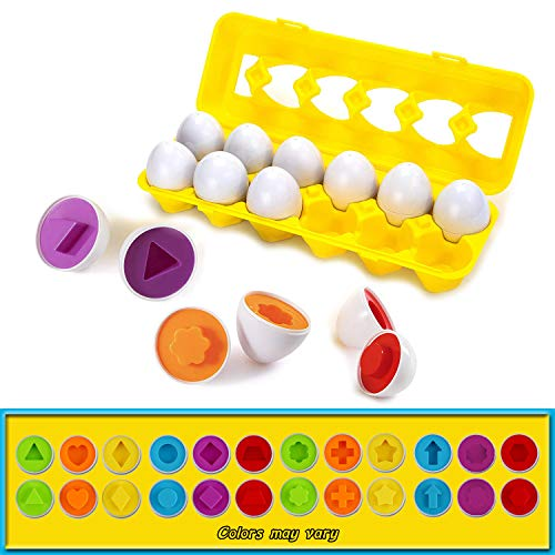 Color & Shapes Matching Egg Toy – Shape Sorting & Color Recognition Learning Toy for Toddlers – Preschool Game – Montessori Education – Easter Eggs