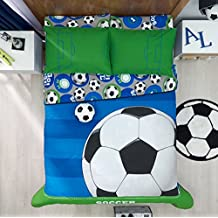 HOME BEDDING FANCY&COOL KIDS COLLECTION SOCCER LUXURY COMFORTER SET 100% GUARANTEE 3 PCS TWIN SIZE