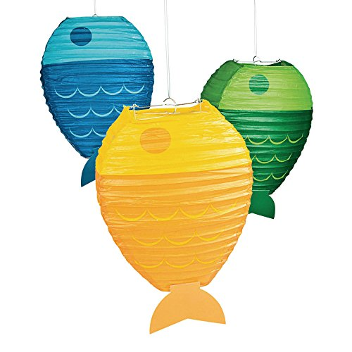 Fun Express - Little Fisherman Fish Shaped Paper Lante for Birthday - Party Decor - Hanging Decor - Lanterns - Birthday - 3 Pieces -