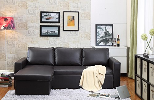 Bicast Leather 2 Piece - Thy-HOM Georgetown Bi-Cast Leather 2-Pieces Sectional Sofa Bed with Storage in Brown