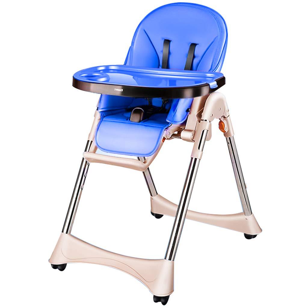 ダイニングチェア、多機能ポータブル折り畳み式調節可能、座って座ることができます、子供用コンフォートシートスツール、ホーム用 (色 : 青)  青 B07KKBP418