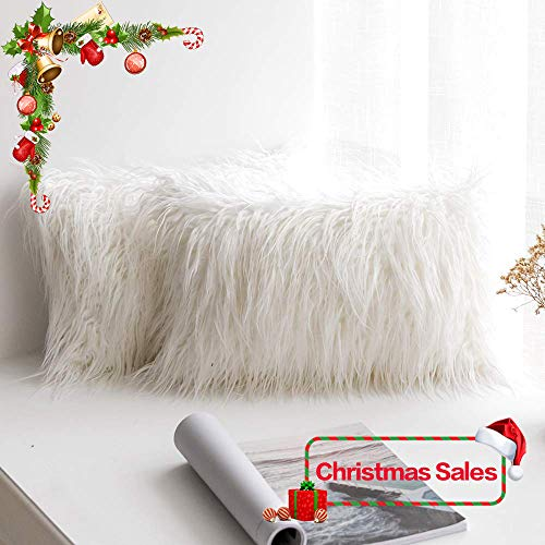 MIULEE Pack of 2 Christmas Decorative New Luxury Series Style White Faux Fur Throw Pillow Case Cushion Cover for Sofa Bedroom Car 12 x 20 Inch 30 x 50 cm
