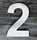 QT Modern House Number - SUPER LARGE 12 Inch - Brushed Stainless Steel (Number 2 Two), Floating Appearance, Easy to install and made of solid 304