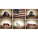 Kids Fireman Nursery Art Set of 6 unframed photos or canvas, Fireman themed Wall art for boys, Vintage matchbox cars, multiple sizes available, perfect for your kids room or nursery walls