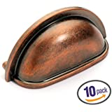 Dynasty Hardware P-2769-AC-10pk Cabinet Hardware Bin Pull, Antique Copper, 10-pack