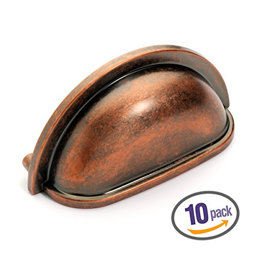 Dynasty Hardware P-2769-AC-10pk Cabinet Hardware Bin Pull, Antique Copper, 10-pack