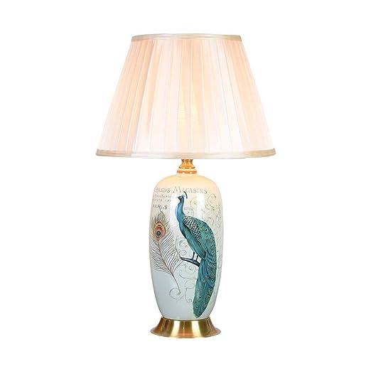 IV-ydzxx Lámpara de Mesa de cerámica de Pavo Real Azul Oriental ...