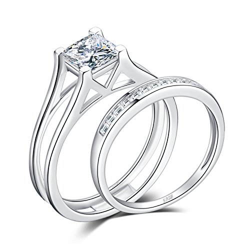 JewelryPalace 1ct Princess Cut Cubic Zirconia Anniversary Wedding Band Solitaire Engagement Ring Bridal Channel Sets 925 Sterling Silver Size - Rings Engagement Channel
