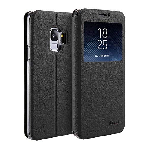 doupi Deluxe FlipCover for Samsung Galaxy S9 Plus with Viewing Window Magnet FlipCase BookStyle Screen Protector Stand Protective Case, Black