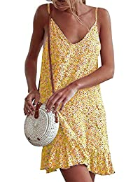 Silver Basic Women's Sleeveless Adjustable Strappy Summer Daisy Printed Beach Swing One Piece Dress