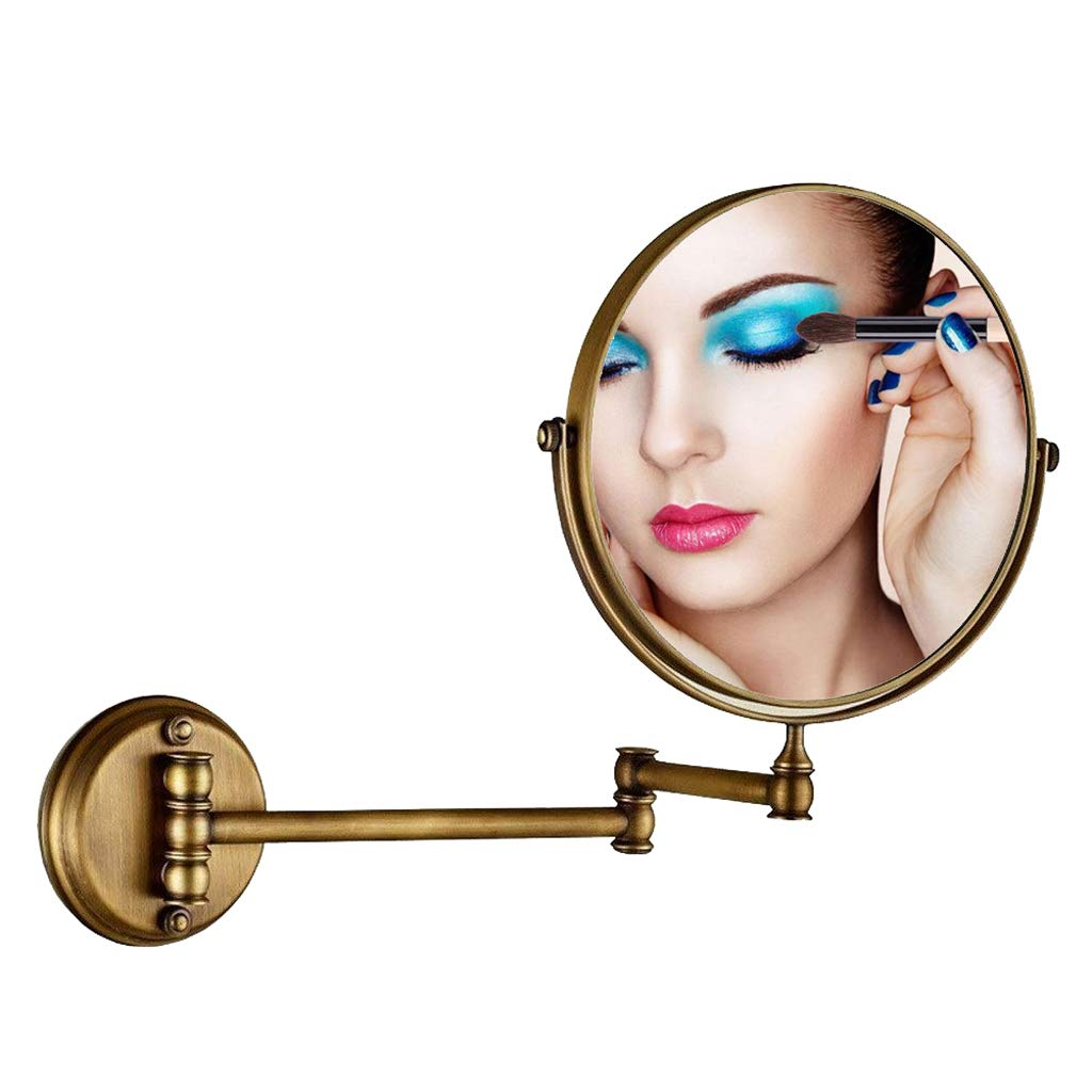 Makeup Mirror Antique Wall Mounted, 360° Swivel 1X/3X Magnification Two-Sided 8 Inch, Bathroom Shaving Mirror Wall Mounted Round Vanity Mirror Chrome Gold by Makeup Mirror