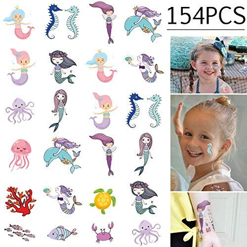 154PCS Mermaid Tattoos Temporary for Kids - Ocean/Under the Sea/Summer Pool Birthday Party Decorations Supplies Favors(8 Sheets)