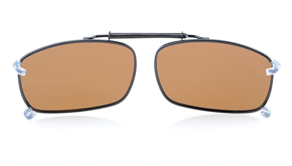 d1493901571 Amazon.com  Eyekepper Large Clip On Sunglasses With Spring Draw Bar Polarized  Brown Lens 2 5 16