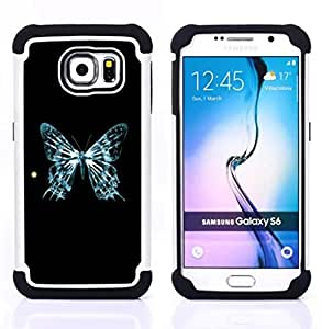 GIFT CHOICE / Defensor Cubierta de protección completa Flexible TPU Silicona + Duro PC Estuche protector Cáscara Funda Caso / Combo Case for Samsung Galaxy S6 SM-G920 // Blue Butterfly Skeleton Sun Art Cosmos //