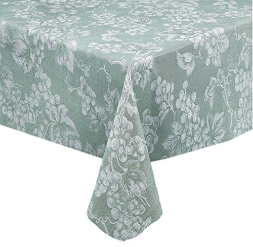 Grapevine Table - Lintex Grapevines Contemporary Grape Print Heavy 4 Gauge Vinyl Flannel Backed Tablecloth, Indoor/Outdoor Wipe Clean Tablecloth, 60 Inch x 104 Inch Oblong/Rectangle, Sage