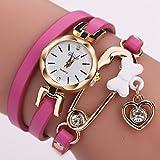 Women Watch,Mailat Women Fine Leather Band Winding Analog Quartz Movement Wrist Watch (Hot pink)