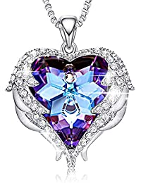 Angel Wing Pendant Necklace White Gold Plated Women Jewelry Heart of Ocean Made with Swarovski Crystals Necklaces