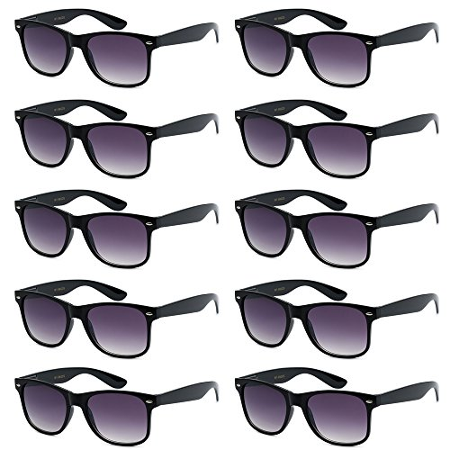 - WHOLESALE UNISEX 80'S RETRO STYLE BULK LOT PROMOTIONAL SUNGLASSES - 10 PACK (Gloss Black / Faded Smoke, 52 mm)
