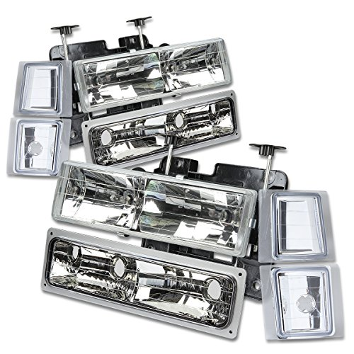Chevy C/K-Series 8-PC Lamps Headlight+Bumper+Corner Lights Kit (Chrome Housing) - GMT400 Facelifted 1997 Gmc C1500 A/c
