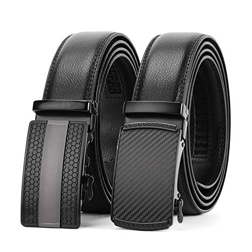 WERFORU 2 Pack Leather Ratchet Dress Belt for Men Perfect Fit Waist Size Up to 44inches with Automatic ()