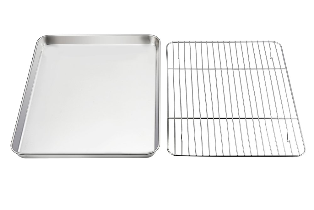 Baking Sheet with Rack Set, E-Far Pure Stainless Steel Cookie Sheet Baking Tray Pan with Wire Rack, 12.5 x 10 x 1 inch, Non Toxic & Healthy, Anti Rust & Mirror Polish - Dishwasher Safe