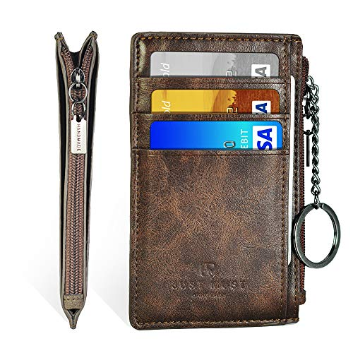 (Slim Minimalist Wallet RFID Front Pocket Credit Card Holder for men women Leather Wallet with Key Ring (Vintage Brown))