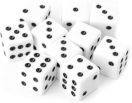 ulkeme 10pcs 15 mm Multicolor perlas de acrílico cubo dados juegos de mesa portátil de seis lados juguete: Amazon.es: Instrumentos musicales