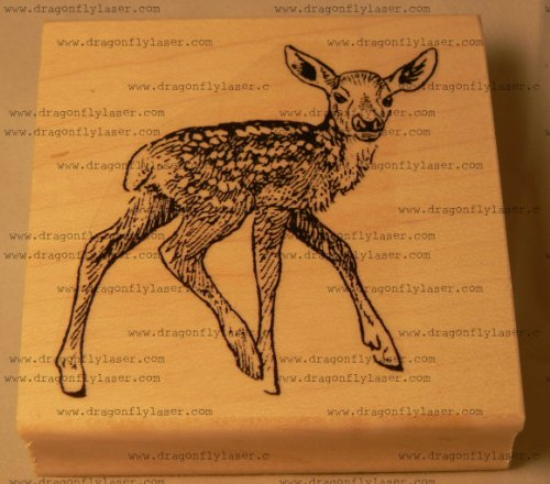 Fawn, deer rubber stamp