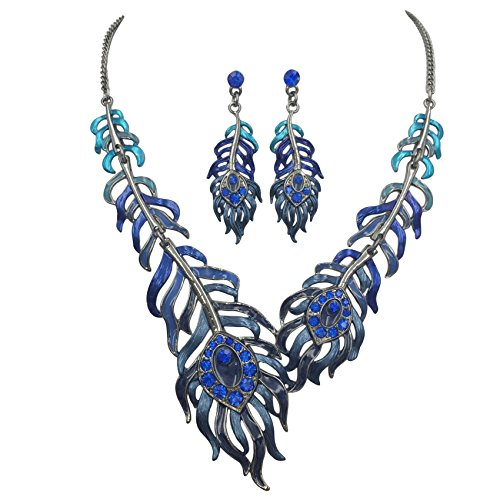 Gypsy Jewels Feather Leaves Statement Short Necklace & Earrings Set (Blue Tones) -