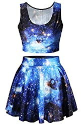 Pink Queen® Blue Galaxy Space Starry Printed 2 Piece Tank Top and Skirt Set