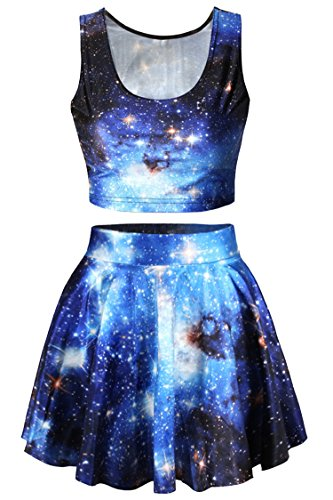 Pink Queen 2 Piece Crop Tank Top Tees and Flare Skirt Set, Blue Galaxy Print, OS,Blue Galaxy Print,One Size