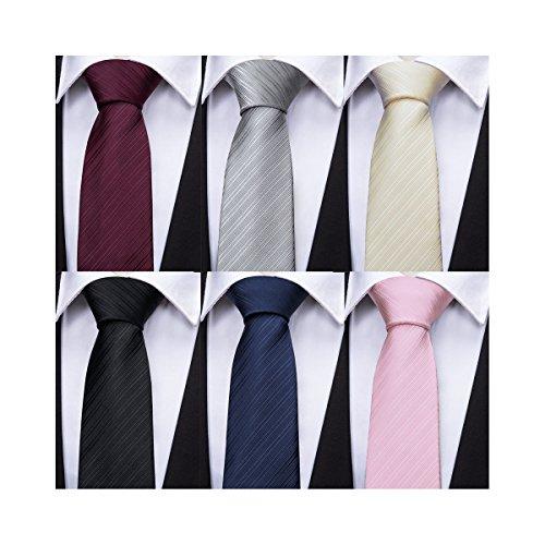 Men Tie Set Solid Color Silk Business Necktie Woven Stripe Formal 6Pcs Pack