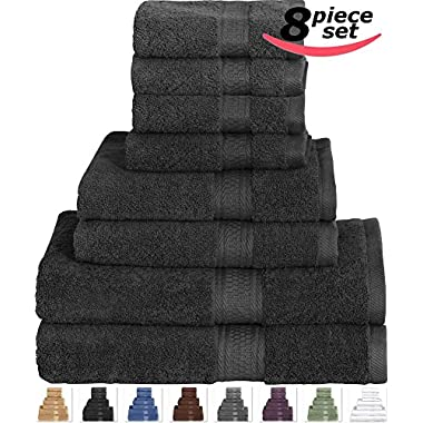 Cotton Bath Towel Set Black - 8 Piece includes 2 Bath Towels, 2 Hand Towels, and 4 Washcloths by Utopia Towels
