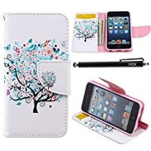 iPod Touch 5 Case, i Touch 6 Case Wallet, iYCK Premium PU Leather Flip Carrying Magnetic Closure Protective Shell Wallet Case Cover for iPod Touch 5/6 with Kickstand Stand - Butterfly Floral Tree