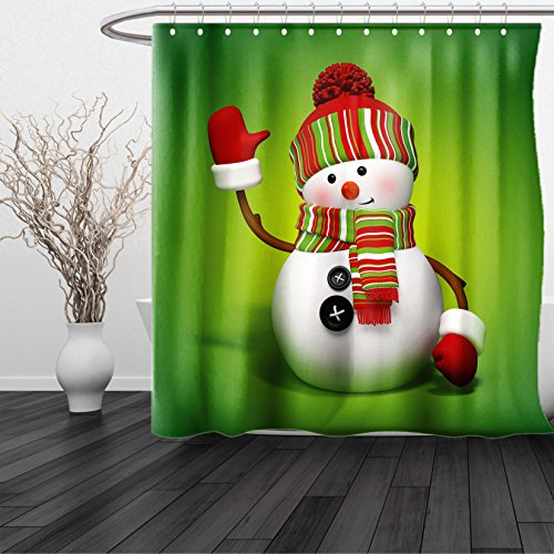 HAIXIA Shower Curtain Snowman 3D Style Fun Character Greeting Traditional Colors Seasonal Celebration Theme Green Red White