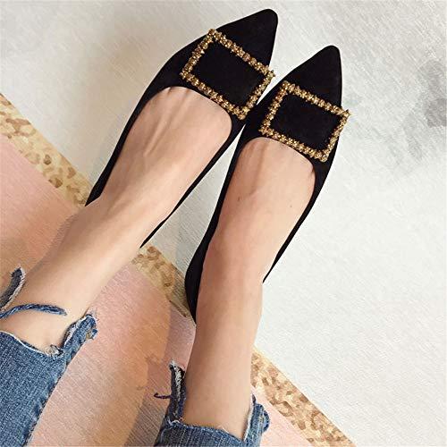 de Mujeres de Embarazadas Zapatos Suave Zapatos Gamuza de cómodos UE Mujeres Moda Simple FLYRCX Planos Solo Oficina Zapatos de Trabajo Rhinestone 39 EU 36 señaló Fondo xqZwRwf1T