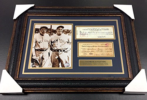 Signed Framed Check - BABE RUTH LOU GEHRIG Facsimile Signed Check REPRINT Framed 8x10 Photo YANKEES