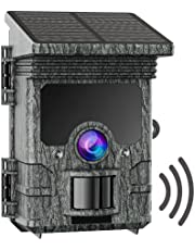 CAMPARKCAM Solar Powered Trail Camera WiFi 2K 24MP Bluetooth Game Camera with 120°PIR Range Hunting Scouting Camera with Night Vision IP66 Waterproof for Wildlife Monitoring Property Security