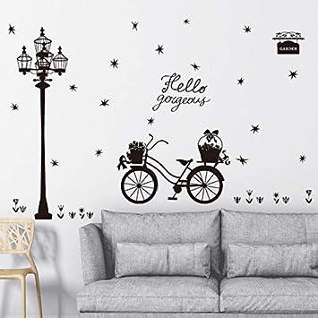liuweidedian Estrellas Negras Luz De La Calle Flores Flotador Bicicleta Silueta Pegatinas De Pared Dormitorio Sala De Estar DIY Tatuajes De Pared Love Home ...