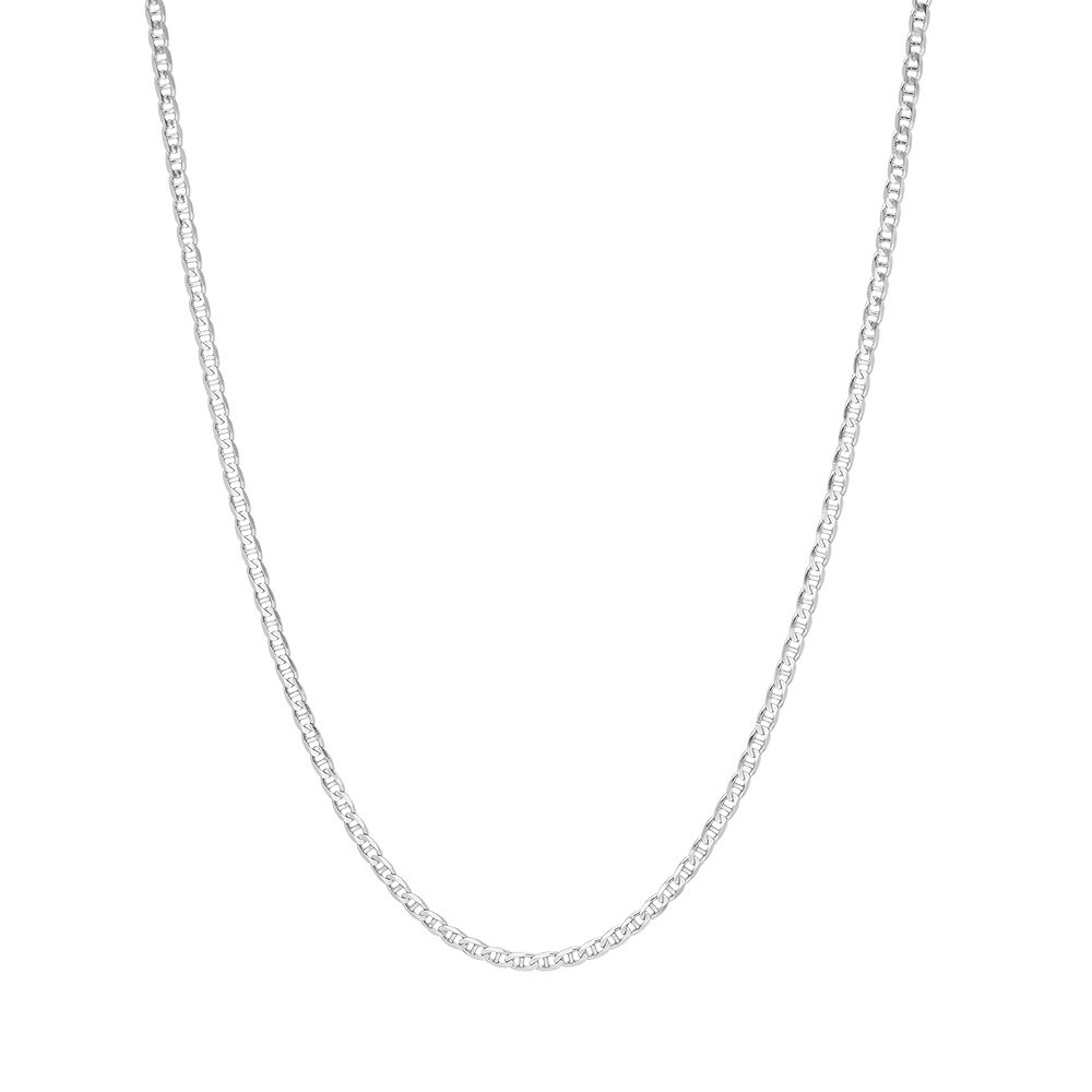 2mm .925 Sterling Silver flat Mariner Link Anchor Chain Necklace (18'')