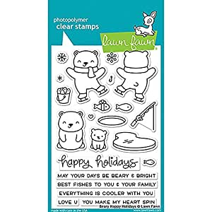 "LAWN FAWN Clear Stamps 4""X6"" Beary Happy Holidays (LF1470)"