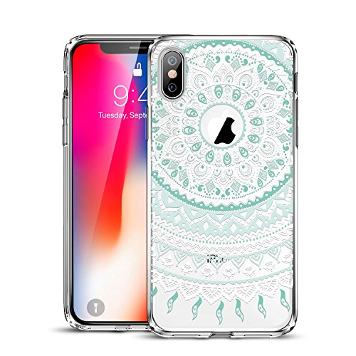 ESR Case Compatible for iPhone X/XS, Slim Fit Floral Totem Case [Anti Scratch PC Back with Soft Bumper][Supports Wireless Charging] Protective Case for iPhone 5.8 inches(Mint Mandala)