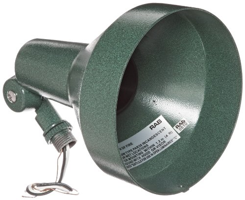 RAB Lighting H101VG Landscape Bell Shaped H System Par Flood, PAR38 Type, Aluminum, 150W Power, Verde Green