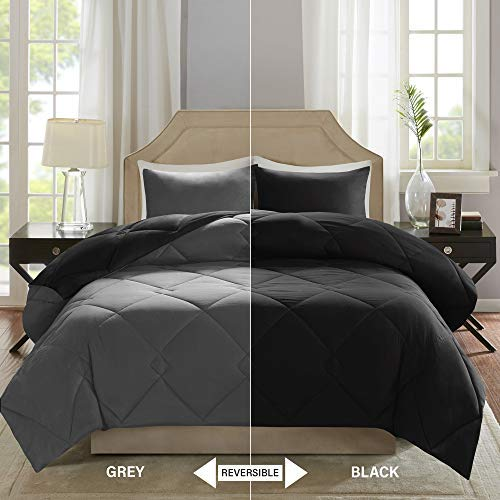 Comfort Spaces – Vixie reversible Goose downward several Comforter smaller Set - 3 Piece – Black and Grey – Stitched Geometrical Diamond Pattern – Full/Queen Size, contains 1 Comforter, 2 Shams