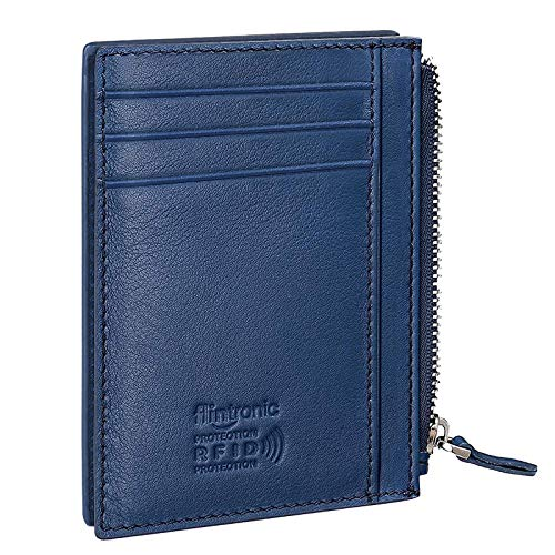 Credit Card Holder, RFID Blocking Genuine Black Leather Card Holder Anti Theft