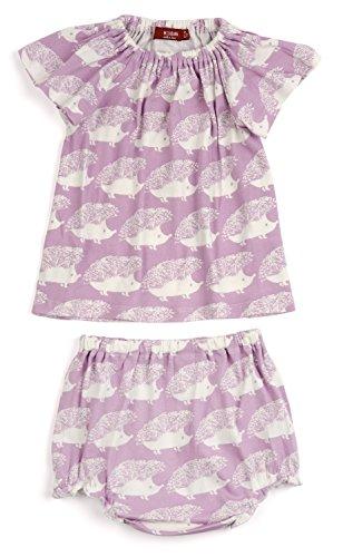 (Milkbarn Peasant Dress Bloomer Set (12-18 Months, Lavender Hedgehog))