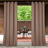 StangH Light Protection Indoor Outdoor Drapes Privacy Enhancing Energy Smart Waterproof Windproof Fade Resistant Grommet Curtains for Deck/Balcony/Gazebo, Mocha, 52 x 108 Inch, 1 Pc